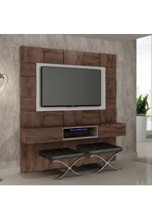 Painel Para Tv 60 Polegadas Caeté Castanho E Off White 200 Cm