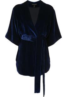 Kiki De Montparnasse Jaqueta Transpassada Com Cinto - Azul