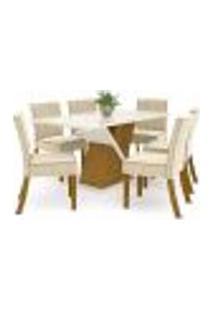 Sala De Jantar Mesa Solus 160Cm Com 6 Cadeiras Maris Nature/Off White/Linho - Henn