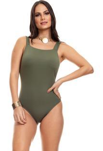 Body Clara Arruda Decote Quadrado 17012 Verde - Verde - Feminino - Dafiti