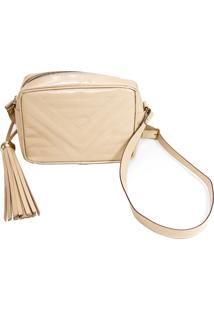 Mini Bag Clutch Me Mirante Do Encanto Nude De Couro