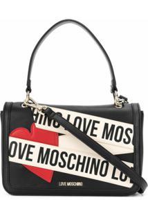Love Moschino Bolsa Tote Com Patch De Logo E Coração - Preto