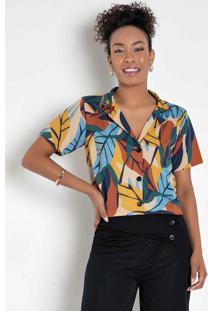 Blusa Folhas Color Com Botões Decorativos