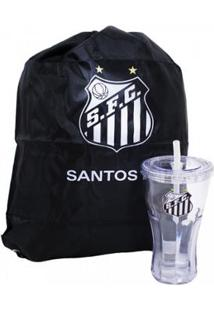Kit Copo Com Canudo 550Ml+Mochila Tipo Saco Santos - Unissex