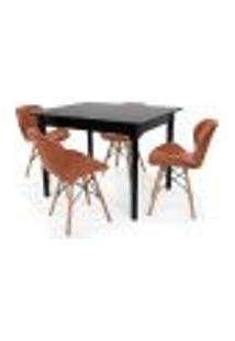 Conjunto Mesa De Jantar Robust 110X90 Preta Com 4 Cadeiras Eames Eiffel Slim - Marrom