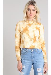 Blusão Feminino Cropped Estampado Tie Dye Em Moletom Mostarda
