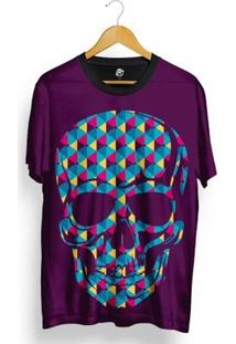 Camiseta Bsc Skull Geometric Colors Total Full Print - Masculino-Roxo