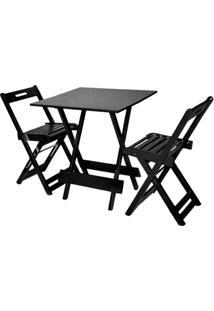 Jogos De Mesas Bar 70X70 Com 2 Cadeiras Dobrável Tabaco - Btb Móveis