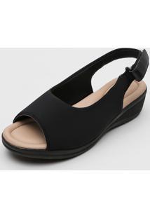 Sandália Comfortflex Slingback Preta