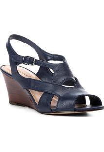 Sandália Anabela Shoestock Tiras Vazadas Feminina - Feminino-Marinho