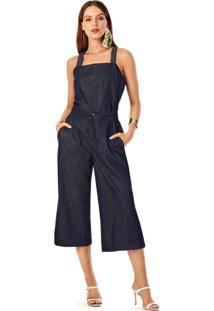 Blusa Iodice Decote Quadrado Alca Detalhe Pesponto Jeans