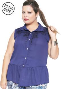 Camisa Estilo Boutique Guipir Babados Azul