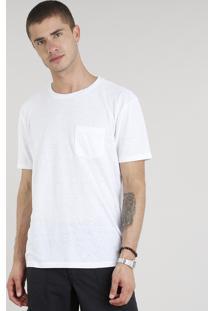 Camiseta Masculina Com Linho E Bolso Manga Curta Gola Careca Branca