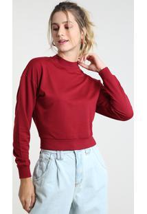 Suéter Feminino Básico Cropped Em Tricô Decote Redondo Vermelho