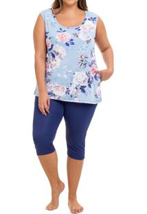 Pijama Capri Regata Liganete Floral Rosas Sepie (2469) Plus Size