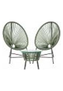Cadeiras De Área E Mesa Acapulco Bahamas Verde Musgo Corda Sintetica (2 Unidades)