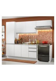 Cozinha Compacta Madesa 100% Mdf Acordes Com Armário E Balcáo - Portas Branco Brilho Branco