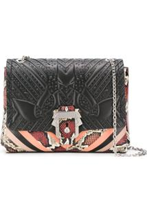 Paula Cademartori Snake-Print Striped Shoulder Bag - Preto