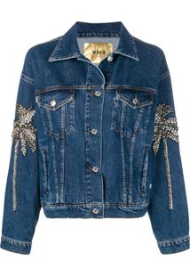 Msgm Jaqueta Jeans Com Aplicação De Cristal - Azul