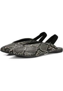 Sapatilha Slingback Cobra Not-Me Elegante Confort Casual - Feminino-Preto