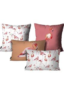 Kit Mdecore Com 4 Capas Para Almofadas Flamingo Branco