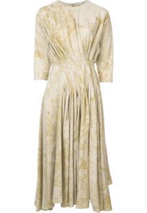Divka Vestido Evasê Com Pregas - Amarelo