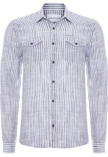 Camisa Masculina Faixas Verticais - Preto