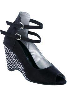 Sapato Anabela Preto Estampa Chevron