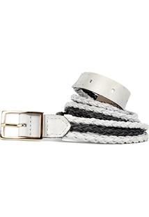 Cinto Couro Shoestock Tranças Feminino - Feminino-Off White