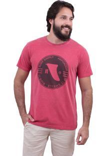 Camiseta Limits Laundry Surf Ride Rj Vermelho