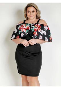 Vestido Preto E Floral Babados Plus Size