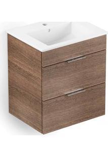 Gabinete Para Banheiro Em Mdf Com Lavatório Cube 43X55Cm Branco E Wengué