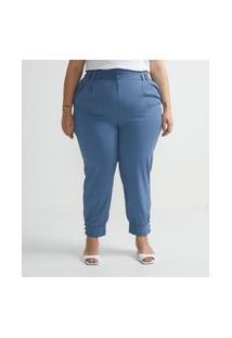 Calça Jogger Em Crepe Com Barra Larga Curve & Plus Size Azul