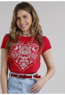 Blusa Feminina Coração Paisley Manga Curta Decote Redondo Vermelha