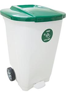 Lixeira Em Plastico T-Force Branco E Verde 100 Litros Com Rodas Tramontina 92815/201