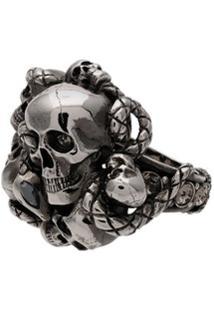 Alexander Mcqueen Anel Skull Snake - Metálico