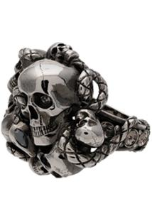 Alexander Mcqueen Silver Chunky Skull Snake Band Ring - Metálico
