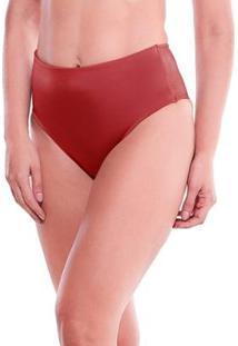 Calcinha Feminize Cintura Alta Frente Dupla Lisa - Feminino-Vermelho