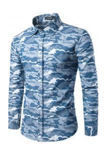 Camisa Masculina Slim Estampa Camuflada Manga Longa - Azul Claro