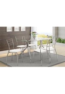 Mesa 387 Com Vidro Incolor Cromada Com 6 Cadeiras 1700 Branca Carraro