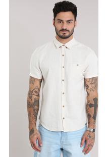 Camisa Com Linho Off White