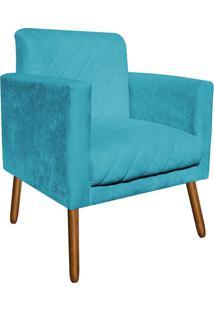 Poltrona Decorativa Thais Suede Azul Tiffany Tressê Pés Palitos - D'Rossi