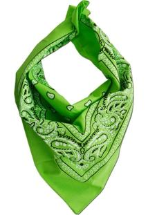 Lenço Bandana Verde Pistache Estampa Preto E Branco - Feminino