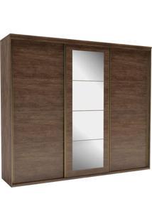 Guarda Roupa Casal Com Espelho 3 Portas 6 Gavetas 227Cm Eleganza Belmax Marsala