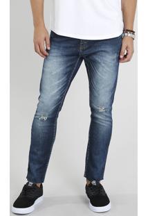 Calça Jeans Masculina Carrot Cropped Azul Escuro