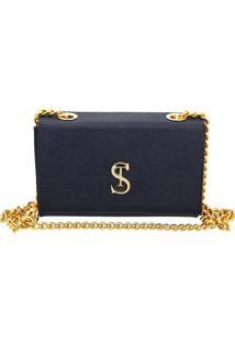 Bolsa Clutch Pequena De Lado Selten Azul Marinho