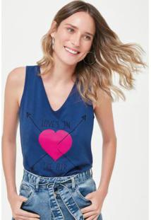 Blusa Azul Escuro Coração Essence