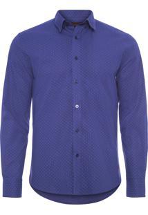 Camisa Masculina Luiz Estampa Flor - Azul
