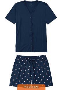 Pijama Azul Marinho Plus Size Poá Com Cetim