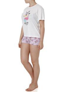 Pijama Curto Feminino Off White/Lilás